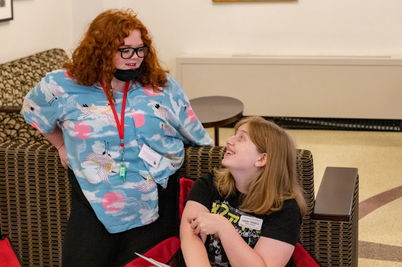 Chloey Bailey (left) with counselor Darby Tassell.