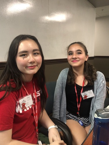 Lauren VanZant and Jessica Raman smile with their new makeup on.